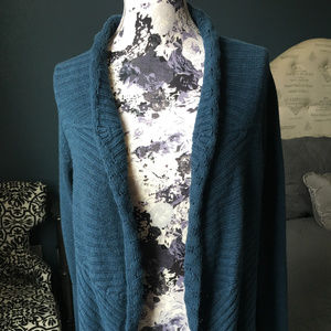 Anthropologie Deep Marine Cable Knit Cardigan